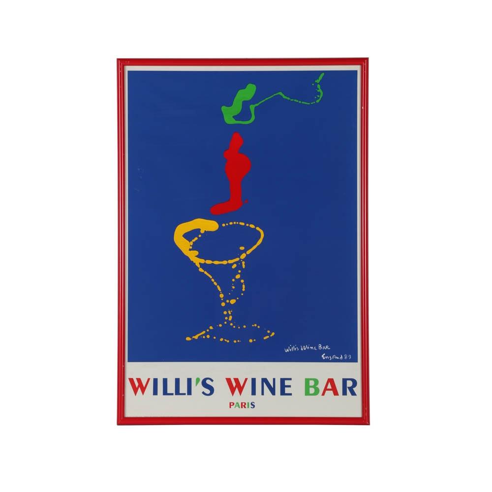 """Wayne Ensrud Serigraph Poster on Paper for """"Willi's Wine Bar Paris"""""""