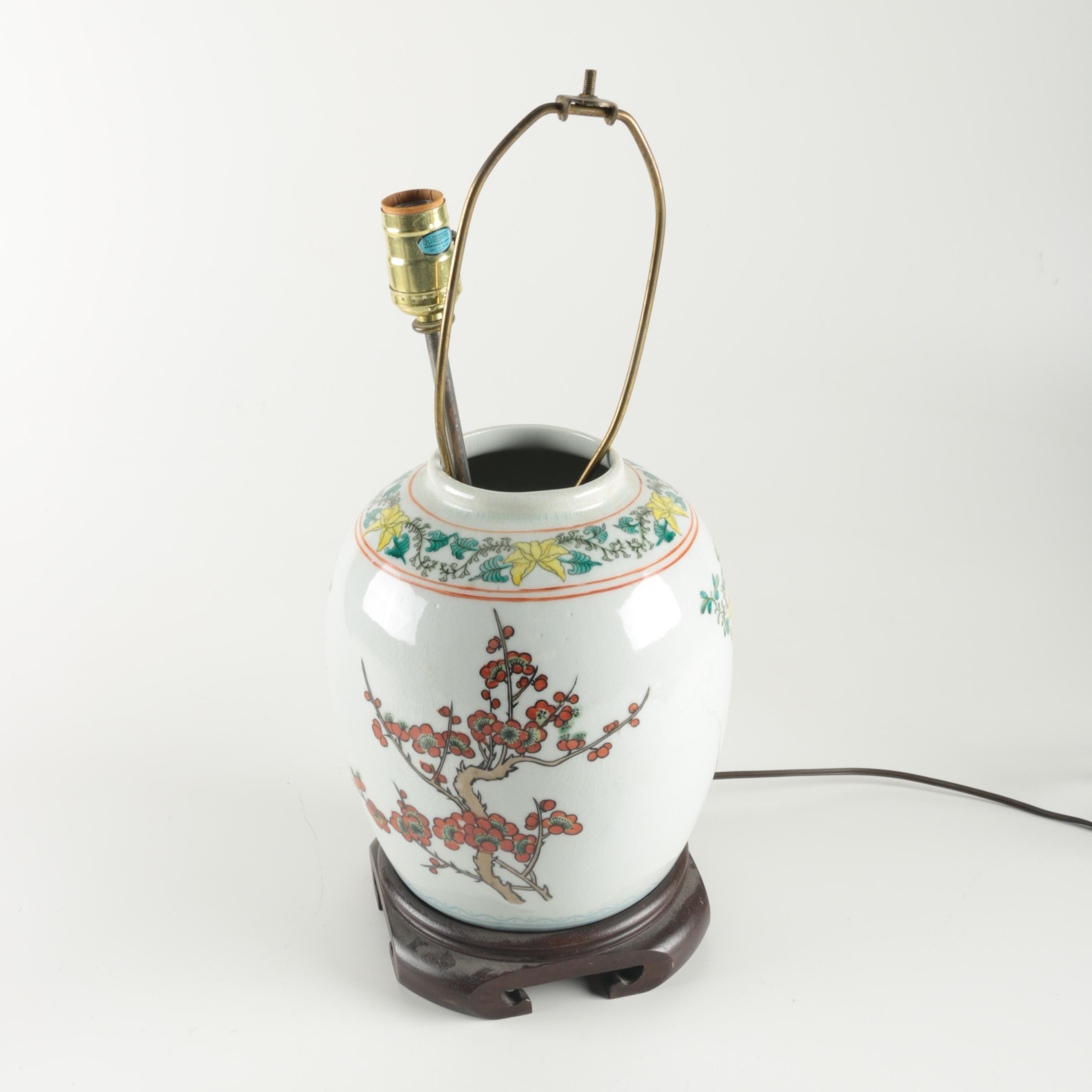Asian-Inspired Ceramic Lamp Base with Lamp Parts