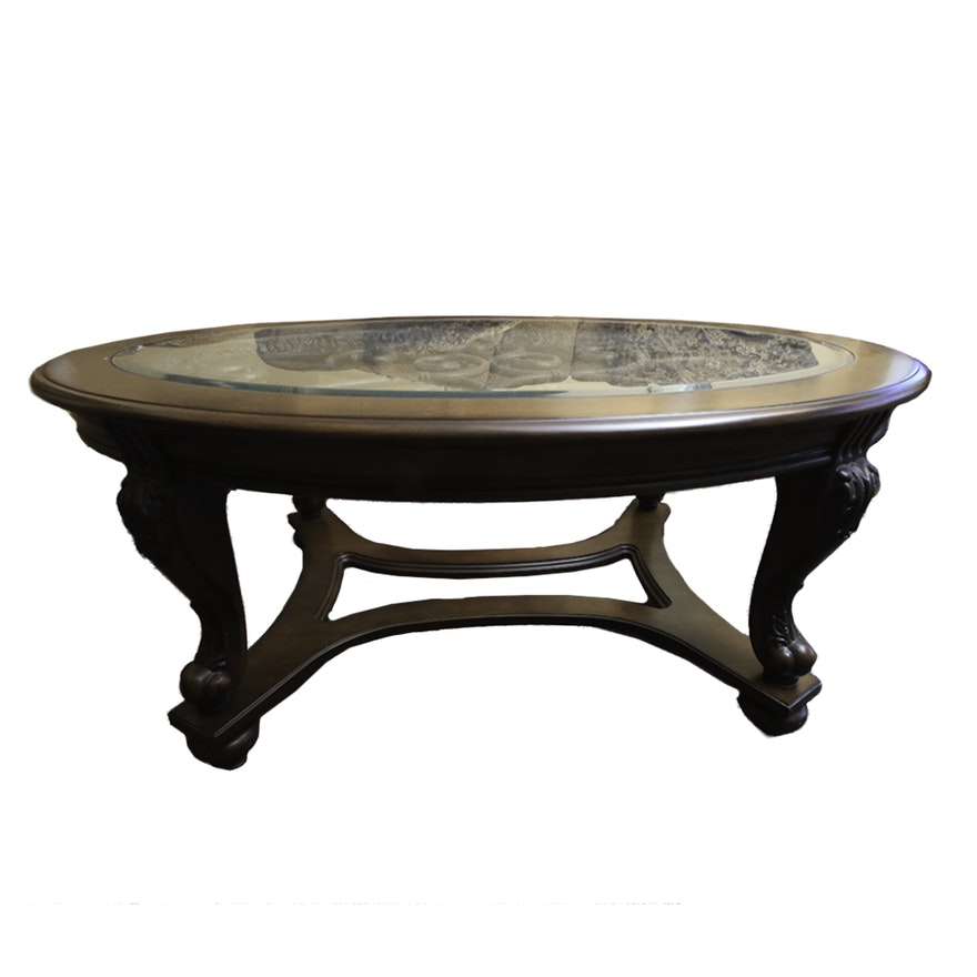 Oval Coffee Table With Metal Legs: Oval Coffee Table With Decorative Scrolled Metal Panel