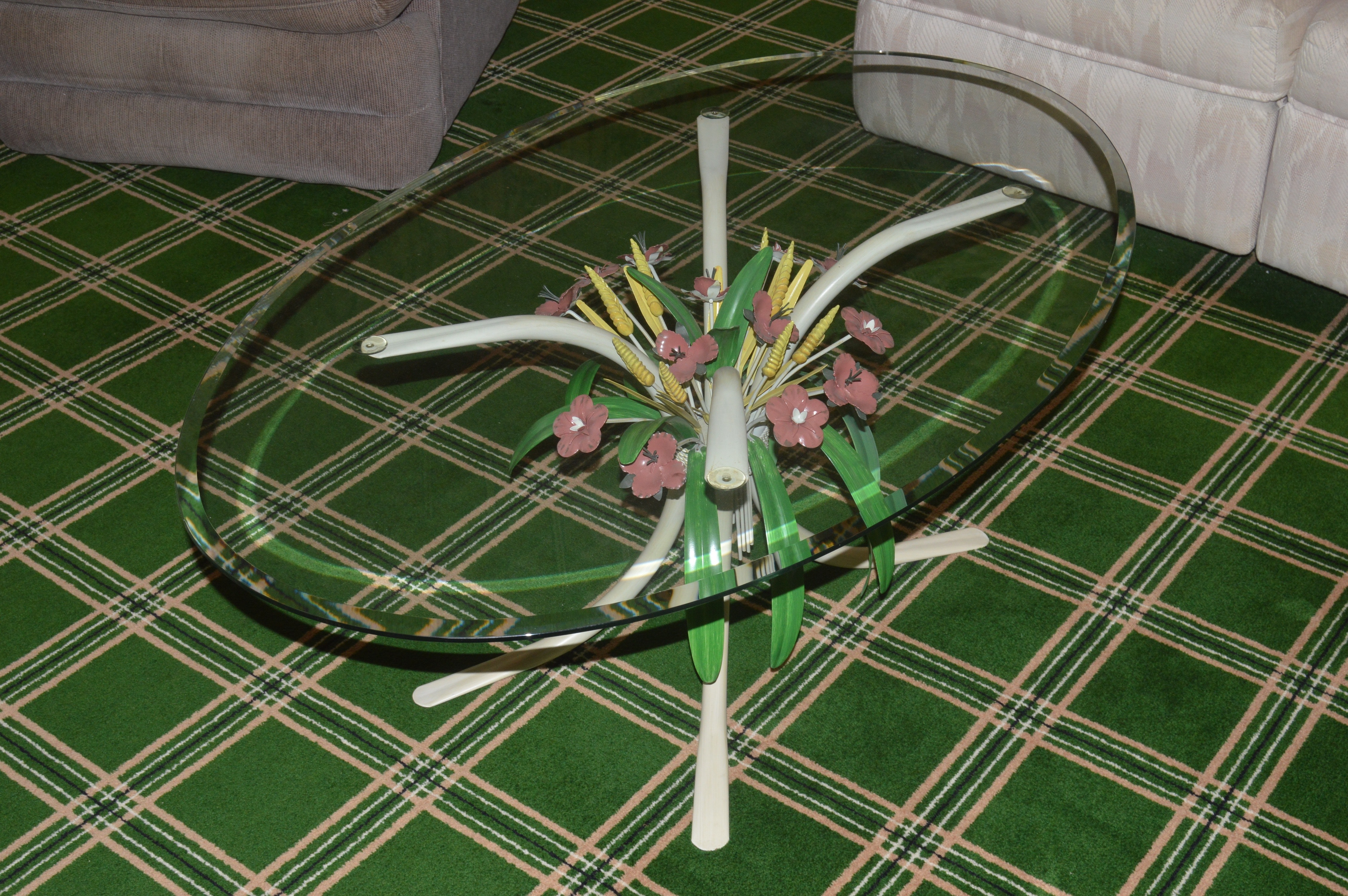 Vintage Glass Toleware Coffee Table