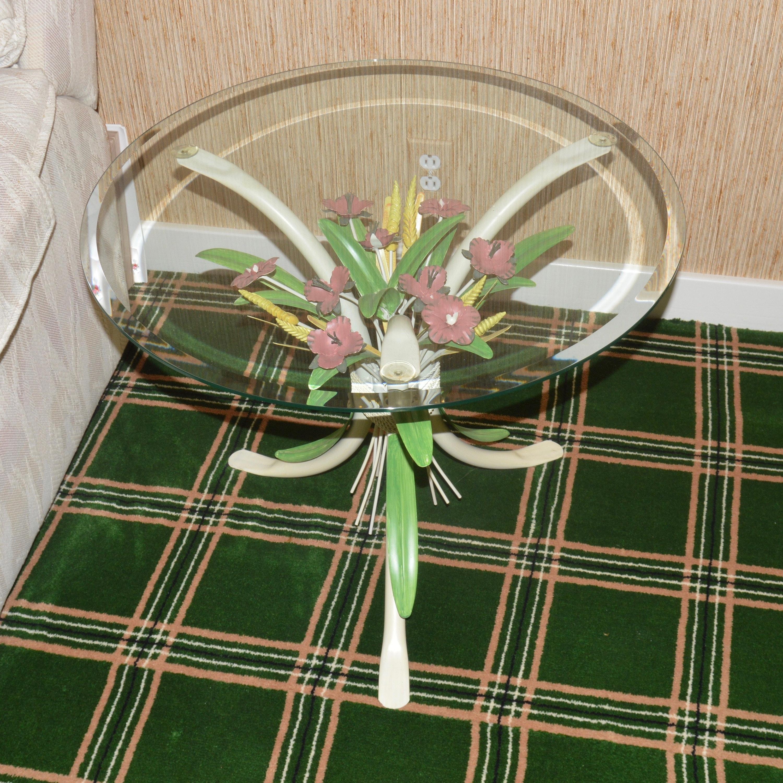 Vintage Toleware Glass Side Table