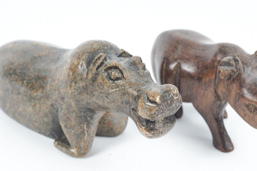 Piccoli animali africani scolpiti in legno e pietra Ebth-5834