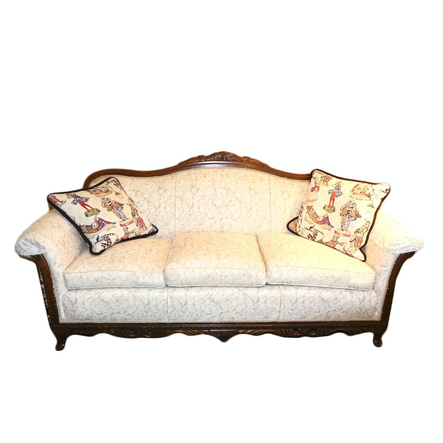 Queen Anne Style Camel Back Sofa