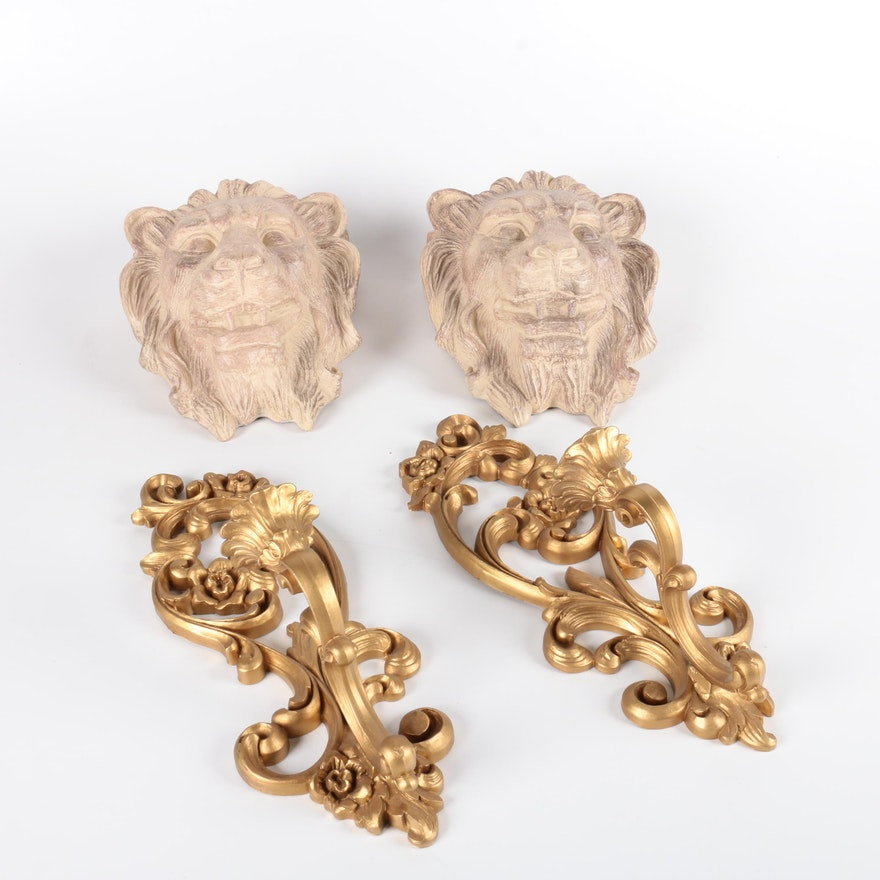Pairs Of Sconces And Lion Wall Decor Ebth