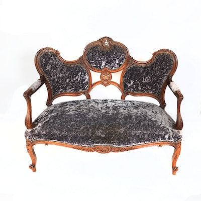 Antique French Carved Walnut Sofa - Online Furniture Auctions Vintage Furniture Auction Antique