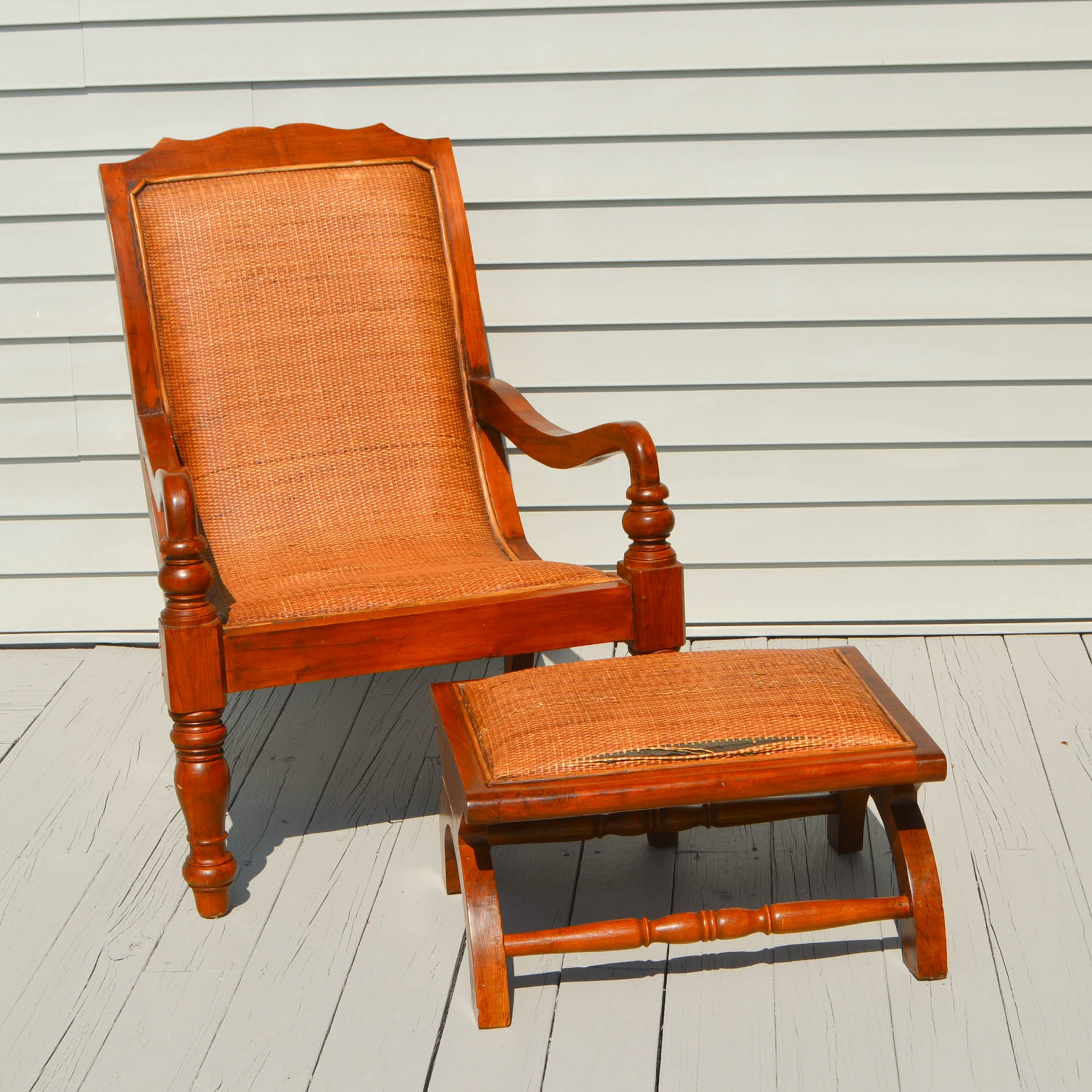 Vintage Arm Chair And Ottoman With Rattan Upholstery