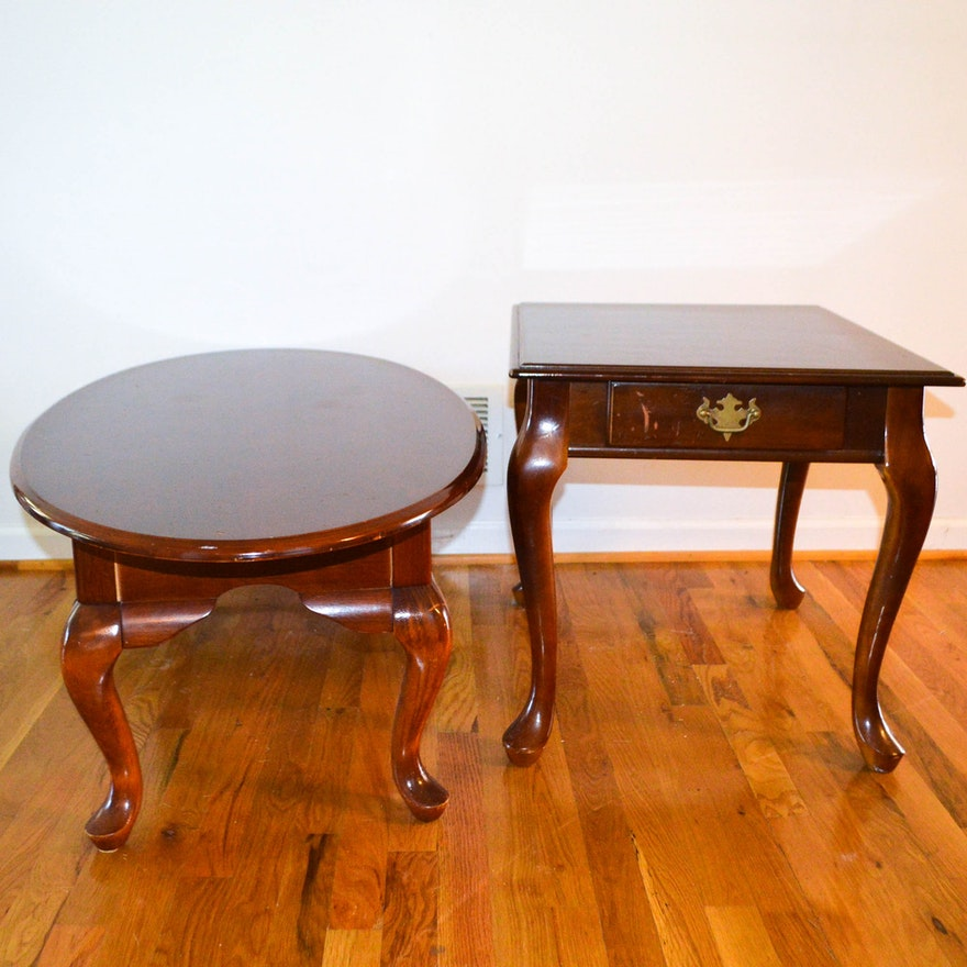 Vintage Queen Anne Style Coffee Table And Side Table