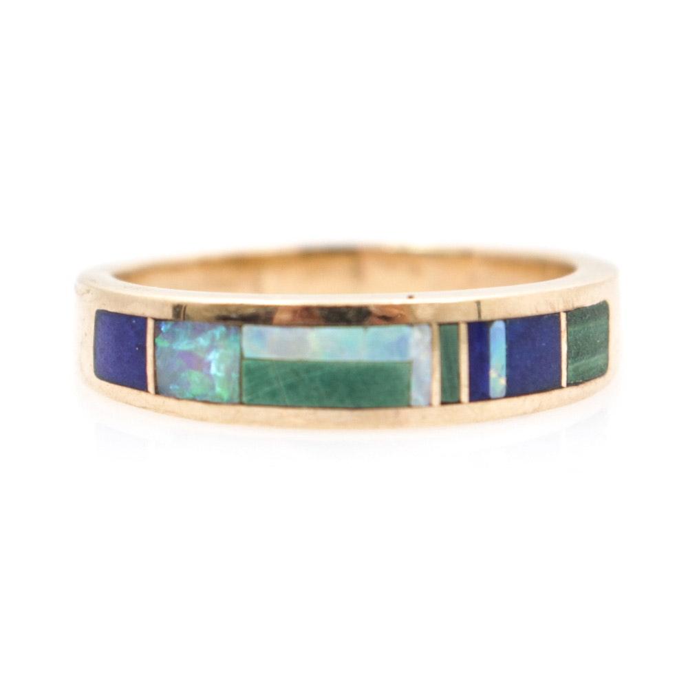 14K Yellow Gold and Natural Gemstone Ring