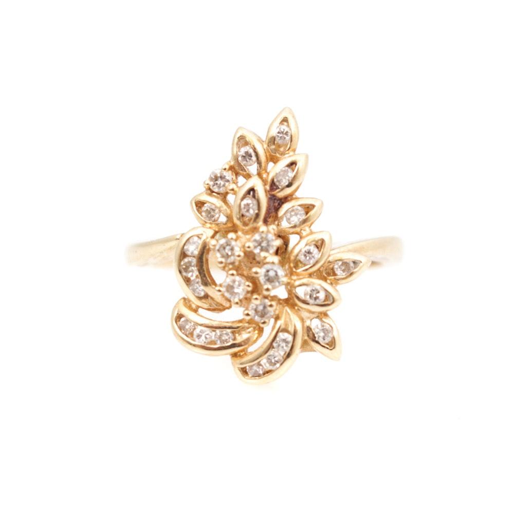 18K Yellow Gold and Diamond Ring