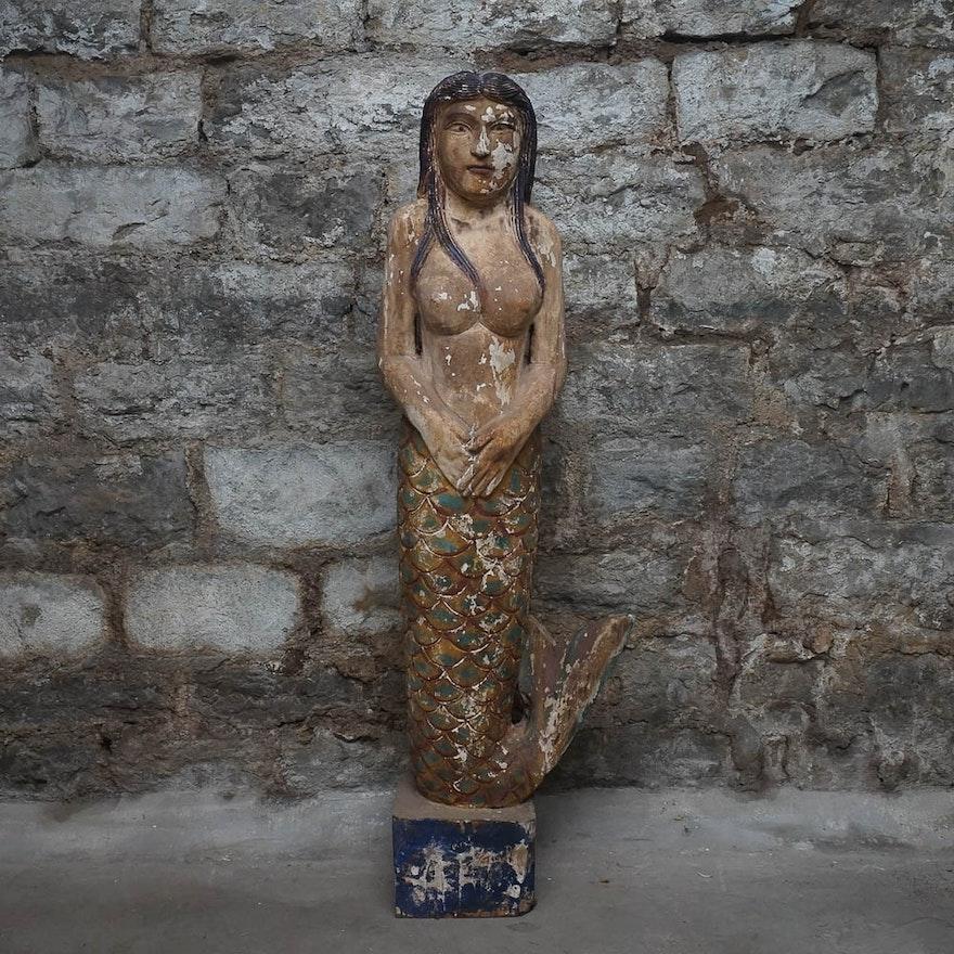 Wooden Mermaid Statue