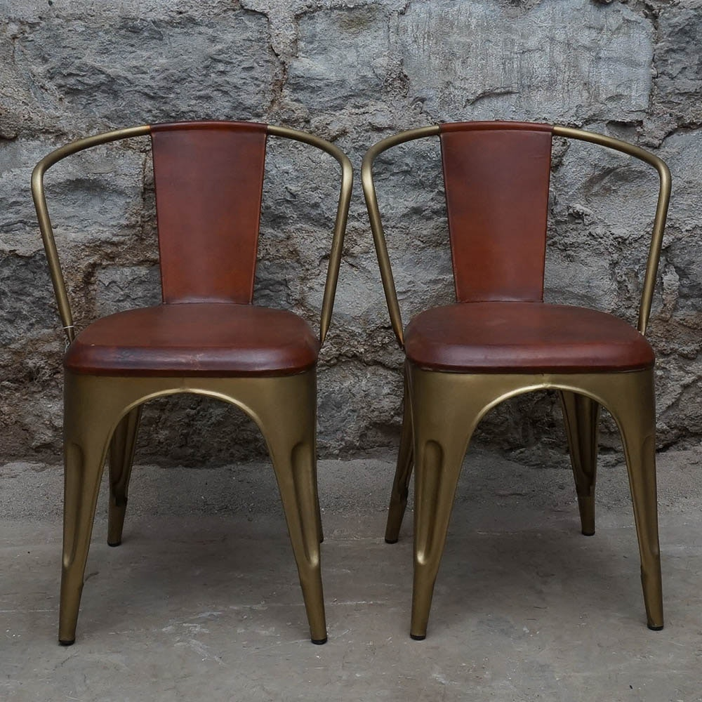 Brass Tone And Leather Tabouret Stacking Chairs
