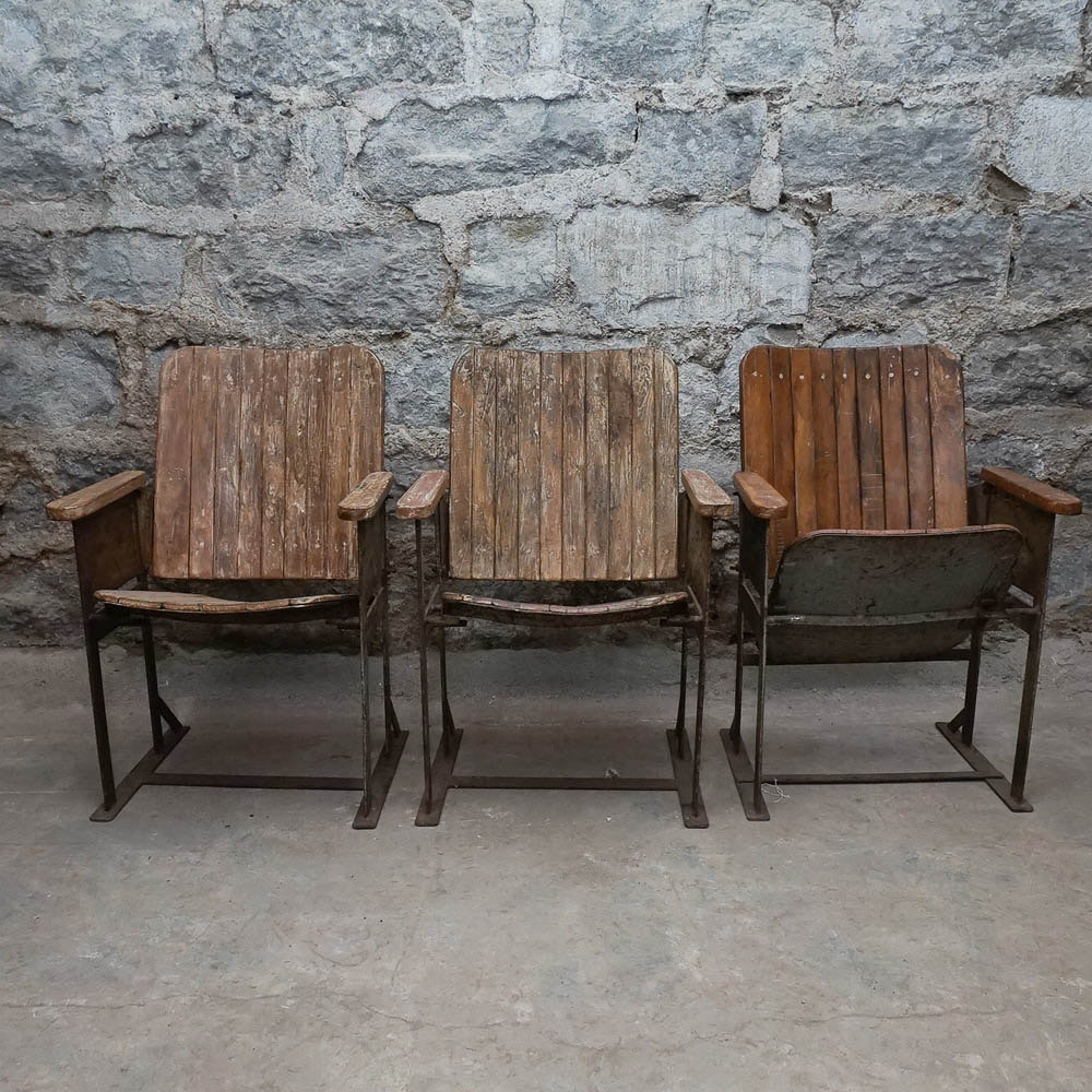 Vintage Wood And Metal Theater Seats Ebth