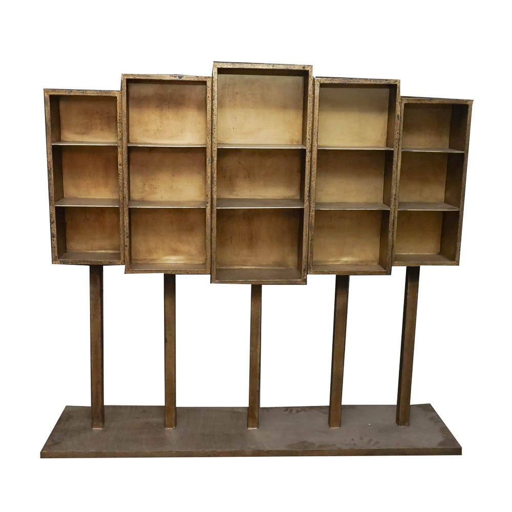 modern sculptural metal bookcase