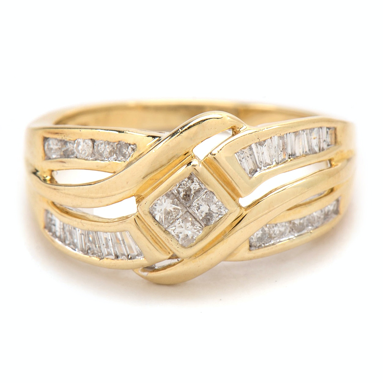 10k yellow gold princess cut and baguette ring ebth