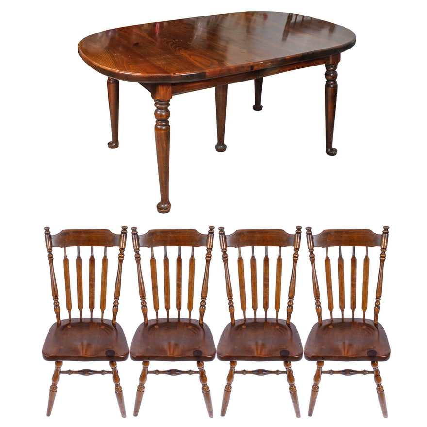 "Vintage ""Early American"" Dining Table And Chairs By Ethan"