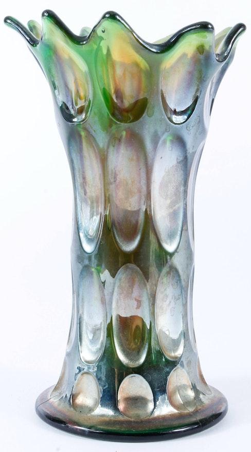 Green Carnival Glass Long Thumbprint Swung Vase Ebth