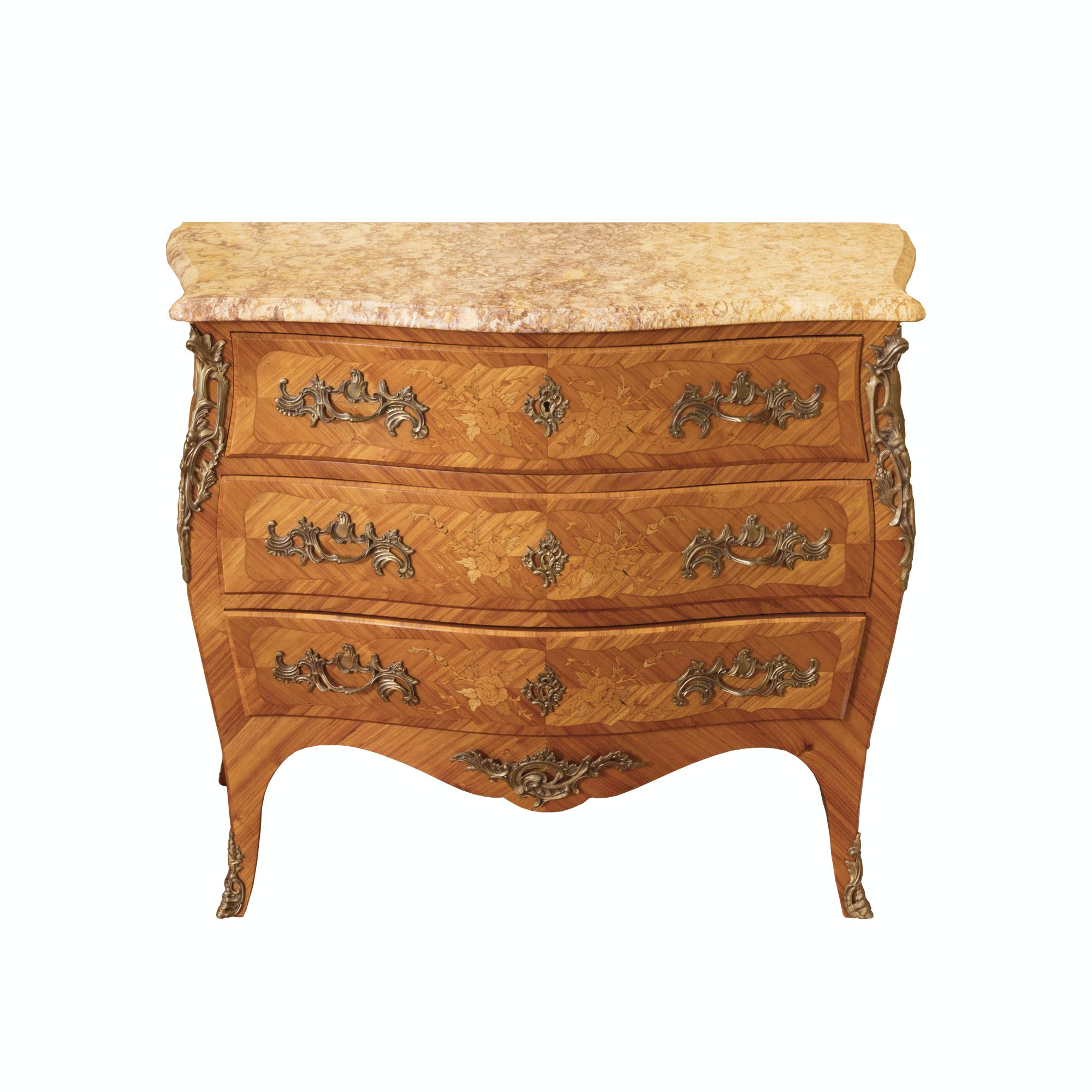 French Louis XV Style Marquetry Chest of Drawers