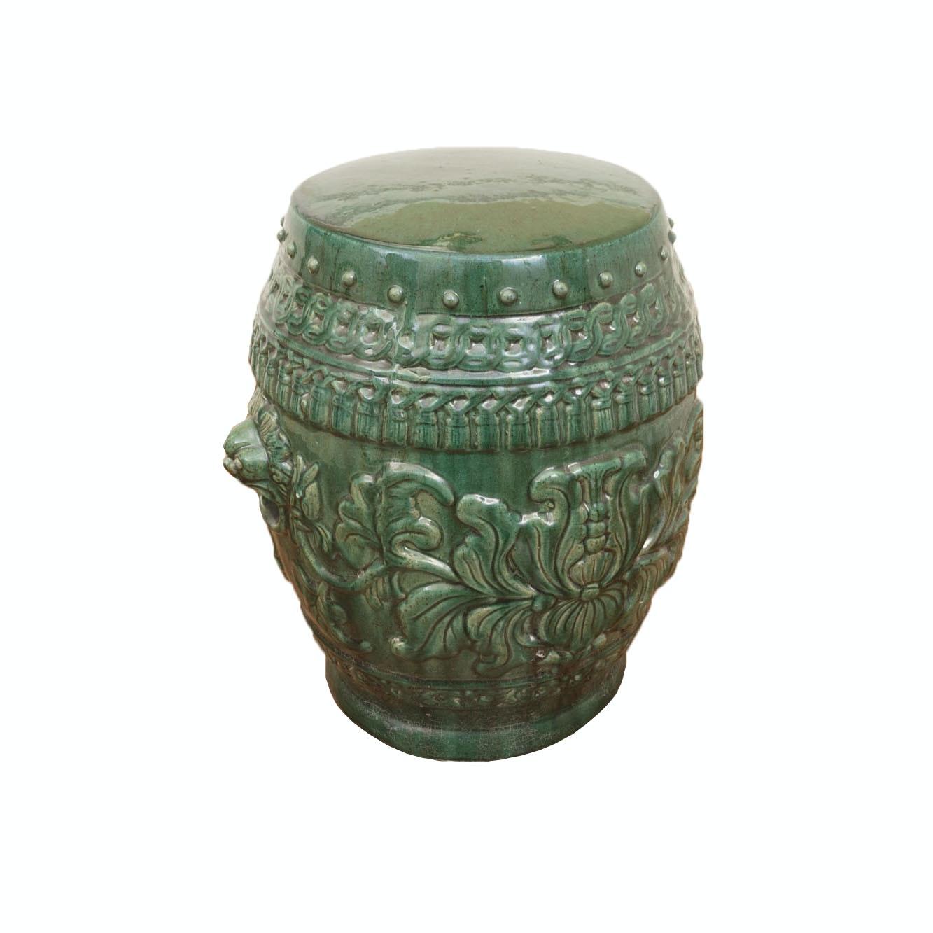Large Decorative Green Ceramic Garden Stool Ebth
