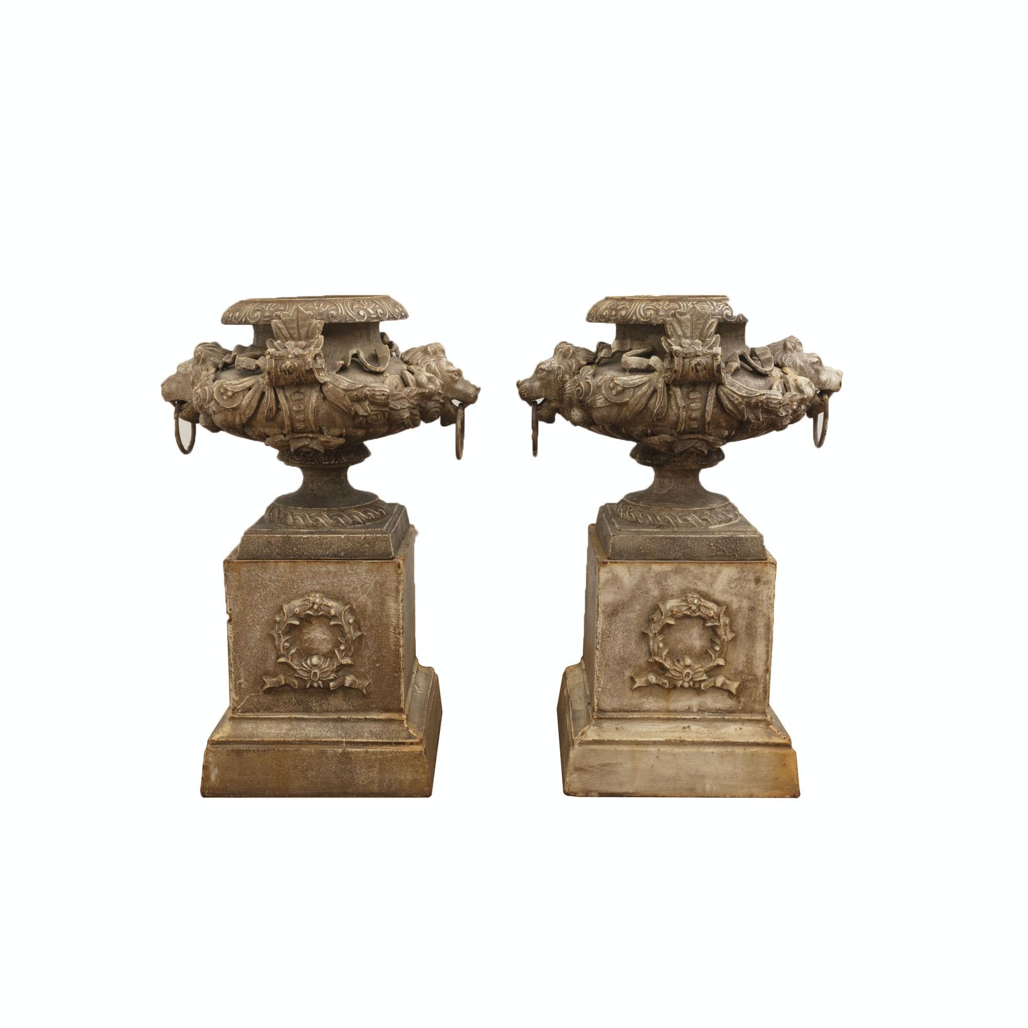 Vintage Rococo Revival Cast Iron Urns on Pedestals