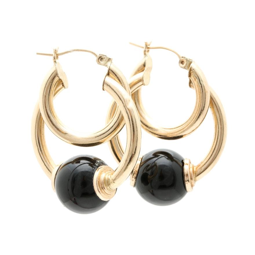 14k Yellow Gold Black Onyx Hoop Earrings