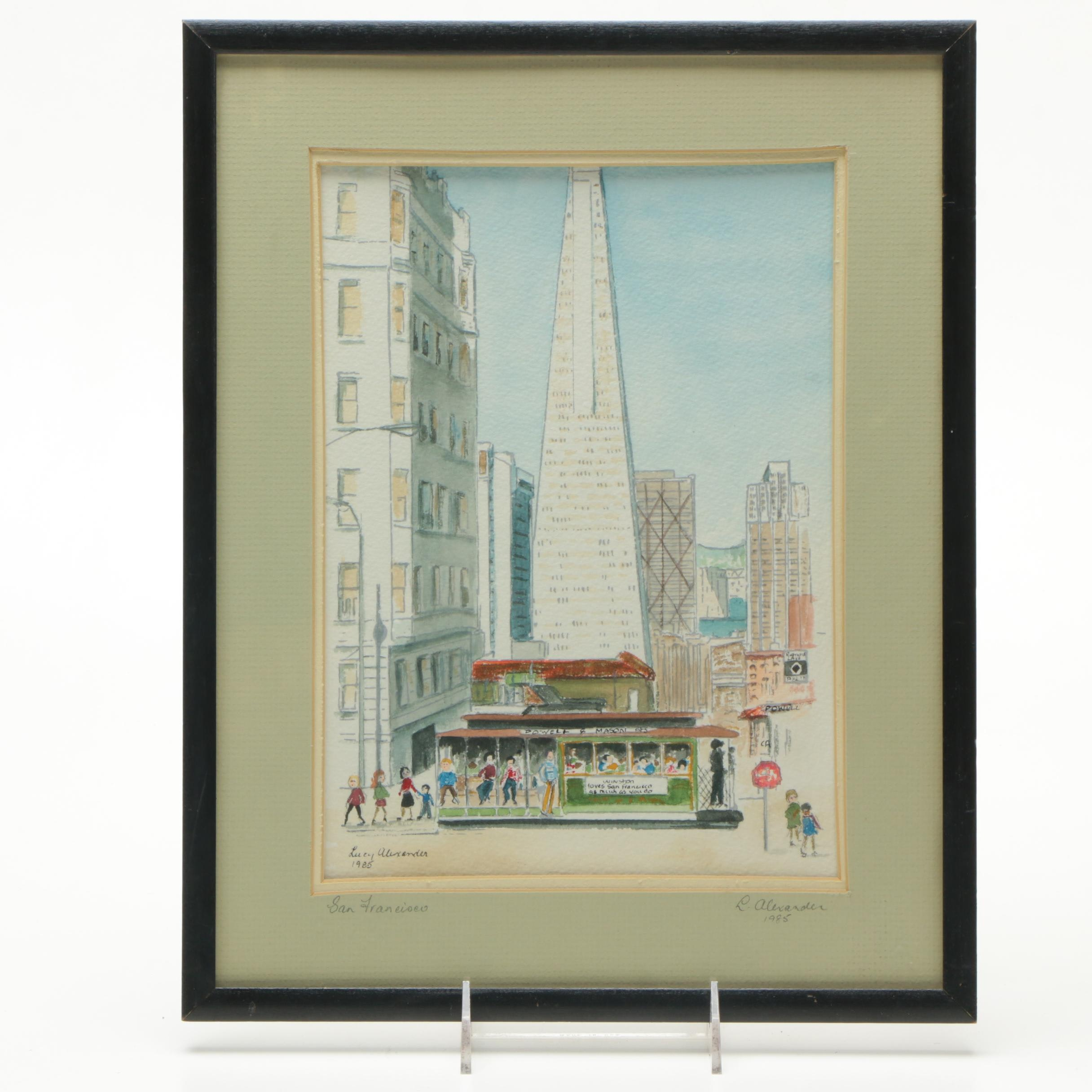 """Lucy Alexander Serigraph with Watercolor Painting """"San Francisco"""""""