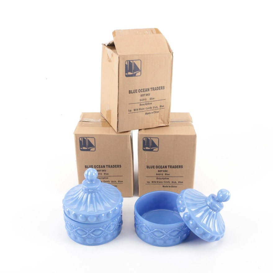 Collection Of Blue Milk Glass Candy Dishes Ebth