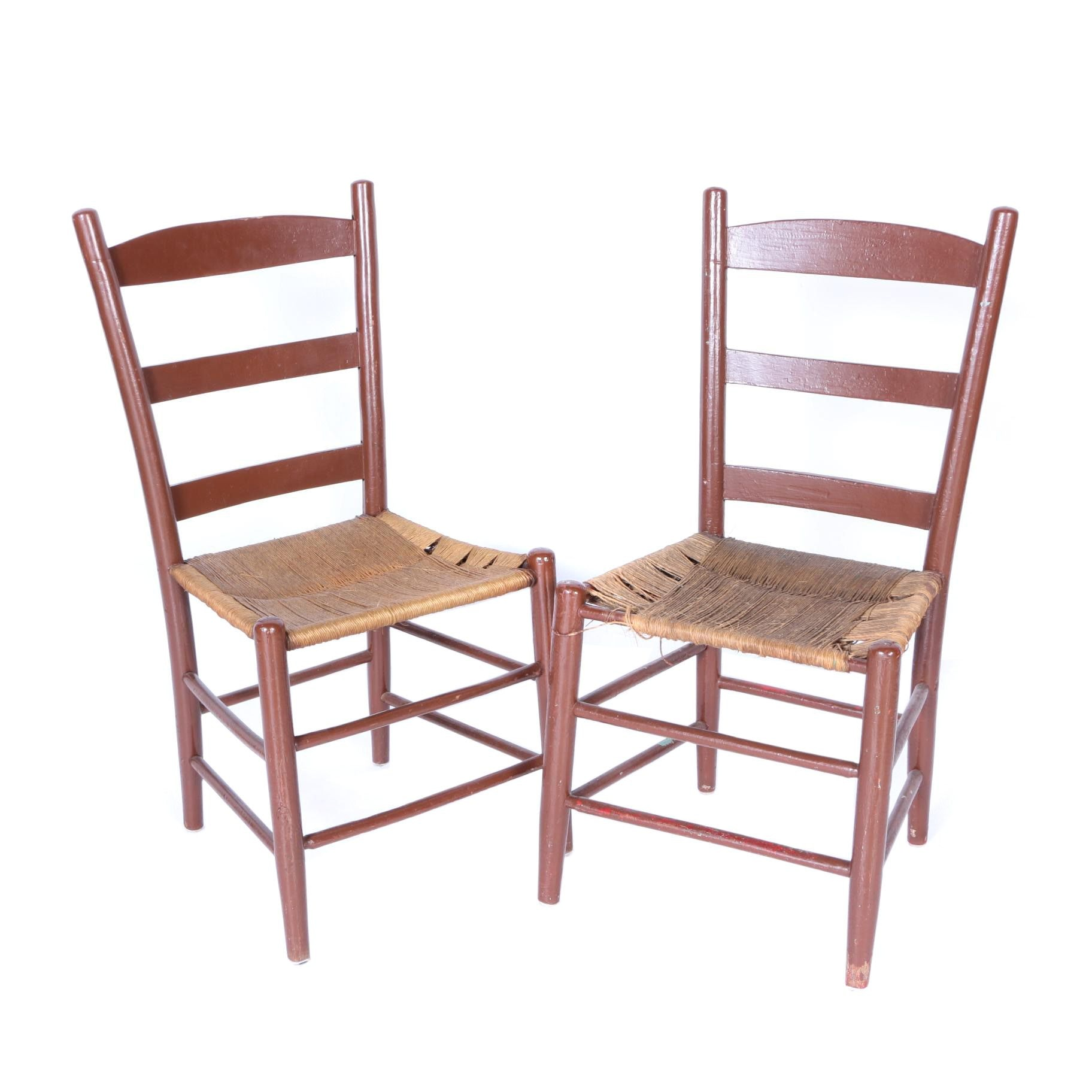 Vintage Ladder Back Chairs With Woven Seats ...