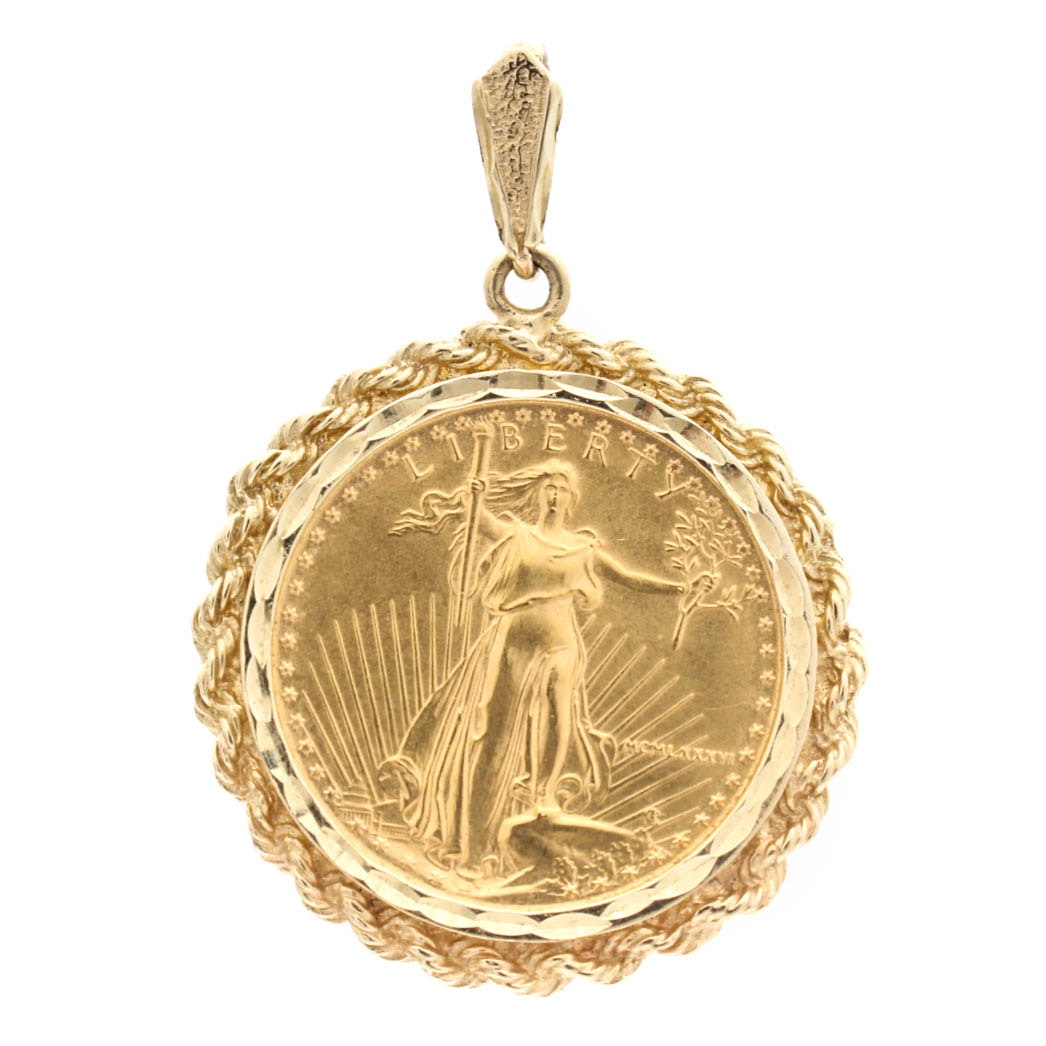 Gold Pendant with Ten Dollar Gold Coin