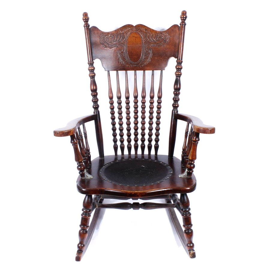 Antique Pressed Back Rocking Chair with Leather Seat ... - Antique Pressed Back Rocking Chair With Leather Seat : EBTH