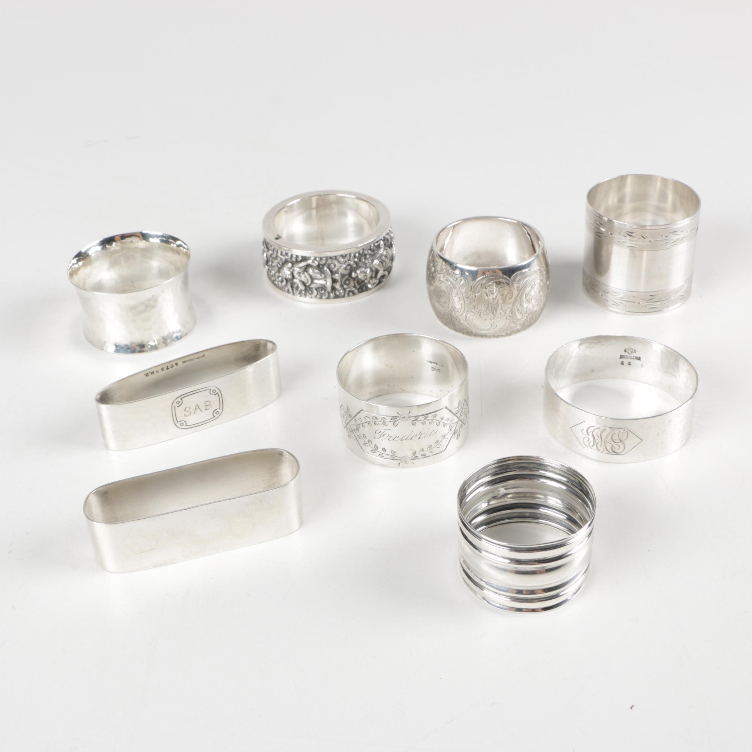 Personalized Sterling Silver Napkin Rings Including William B. Kerr