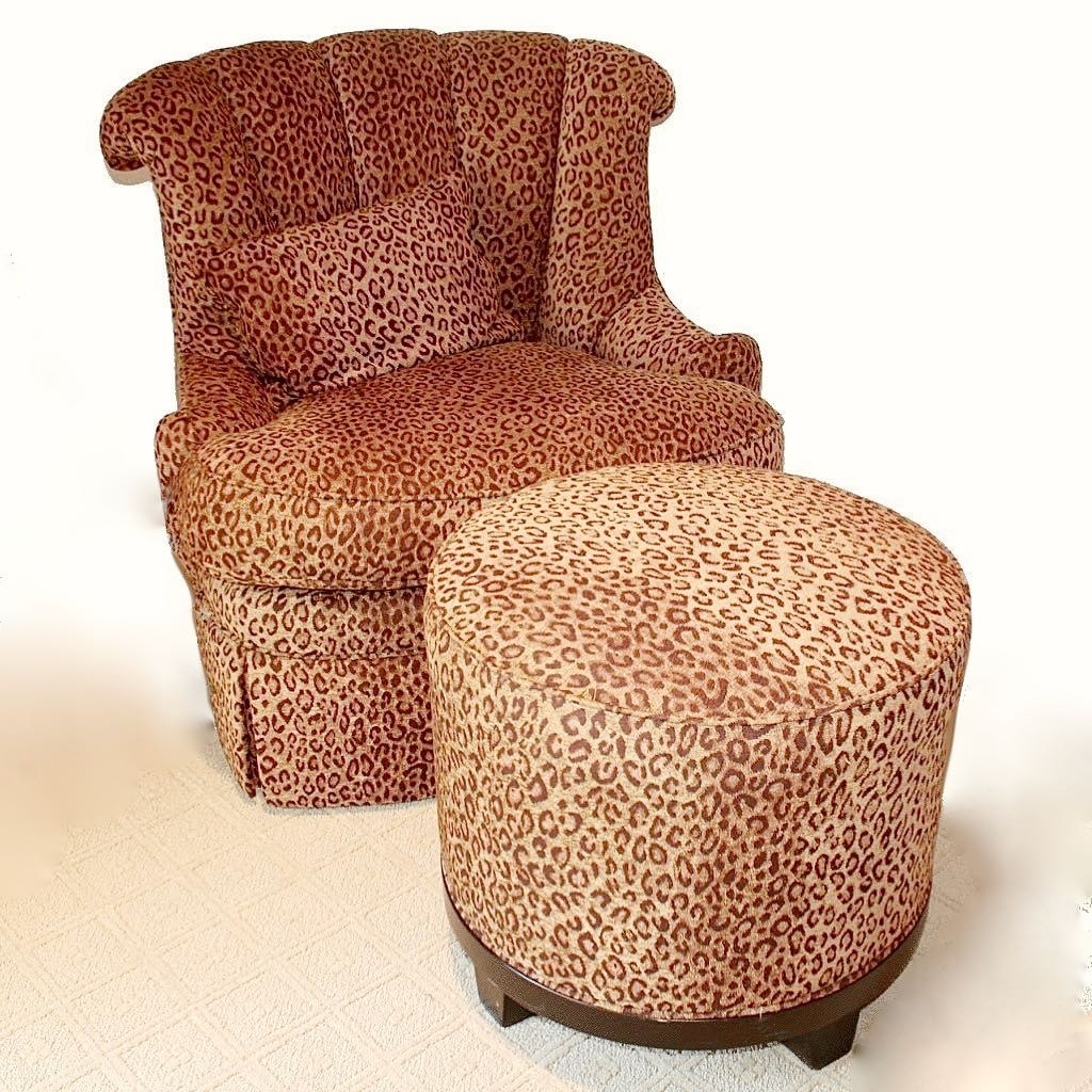 Leopard Print Chair And Ottoman