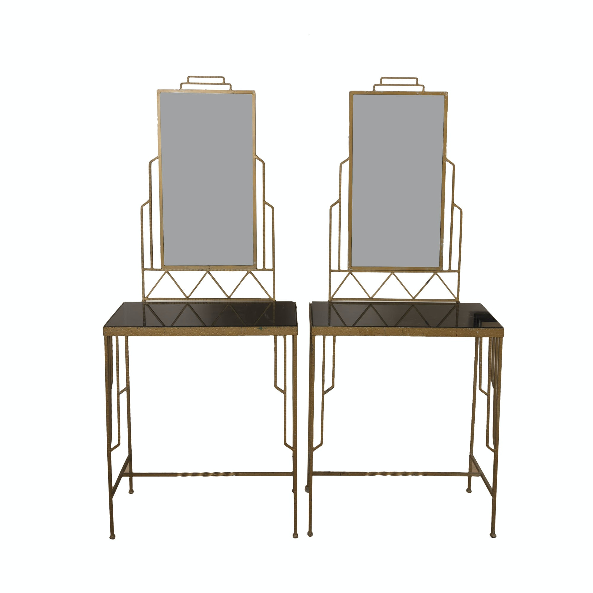 Pair of Art Deco Style Vanity Tables with Mirrors