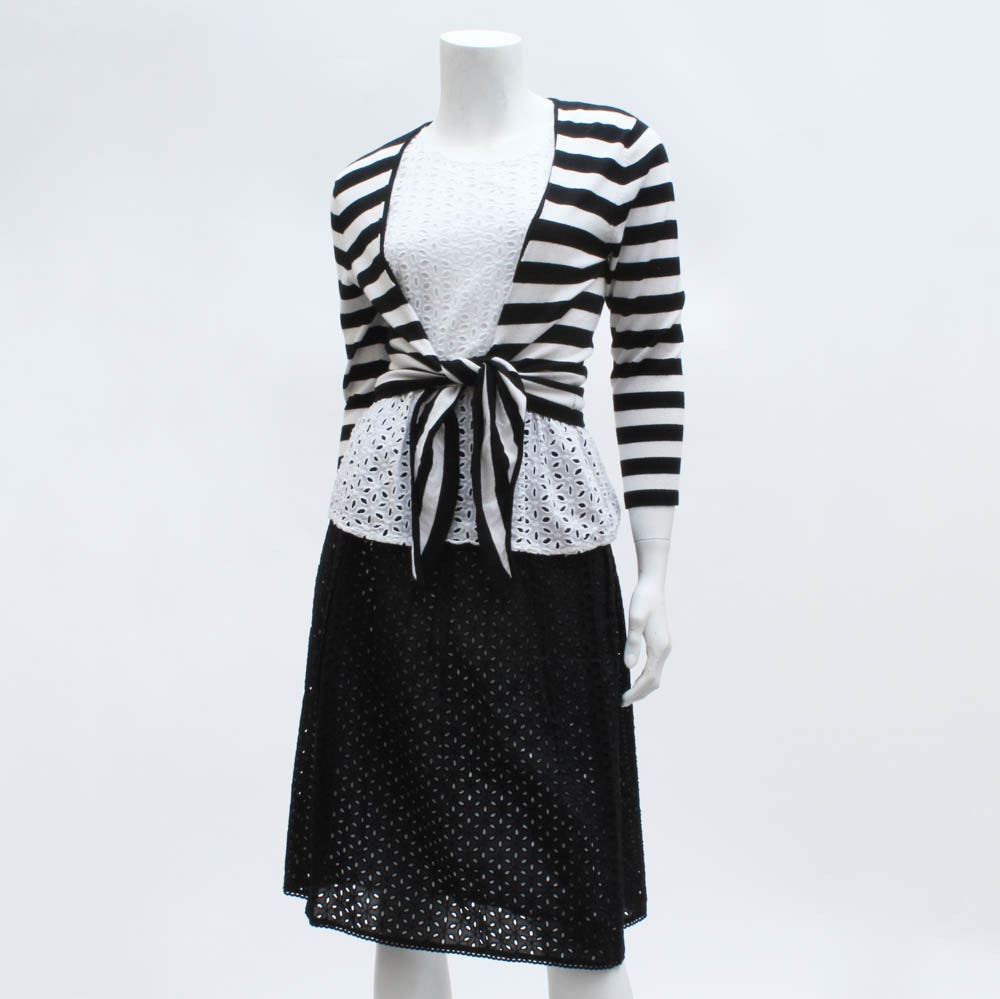 Women's Black and White Skirt and Top Ensemble