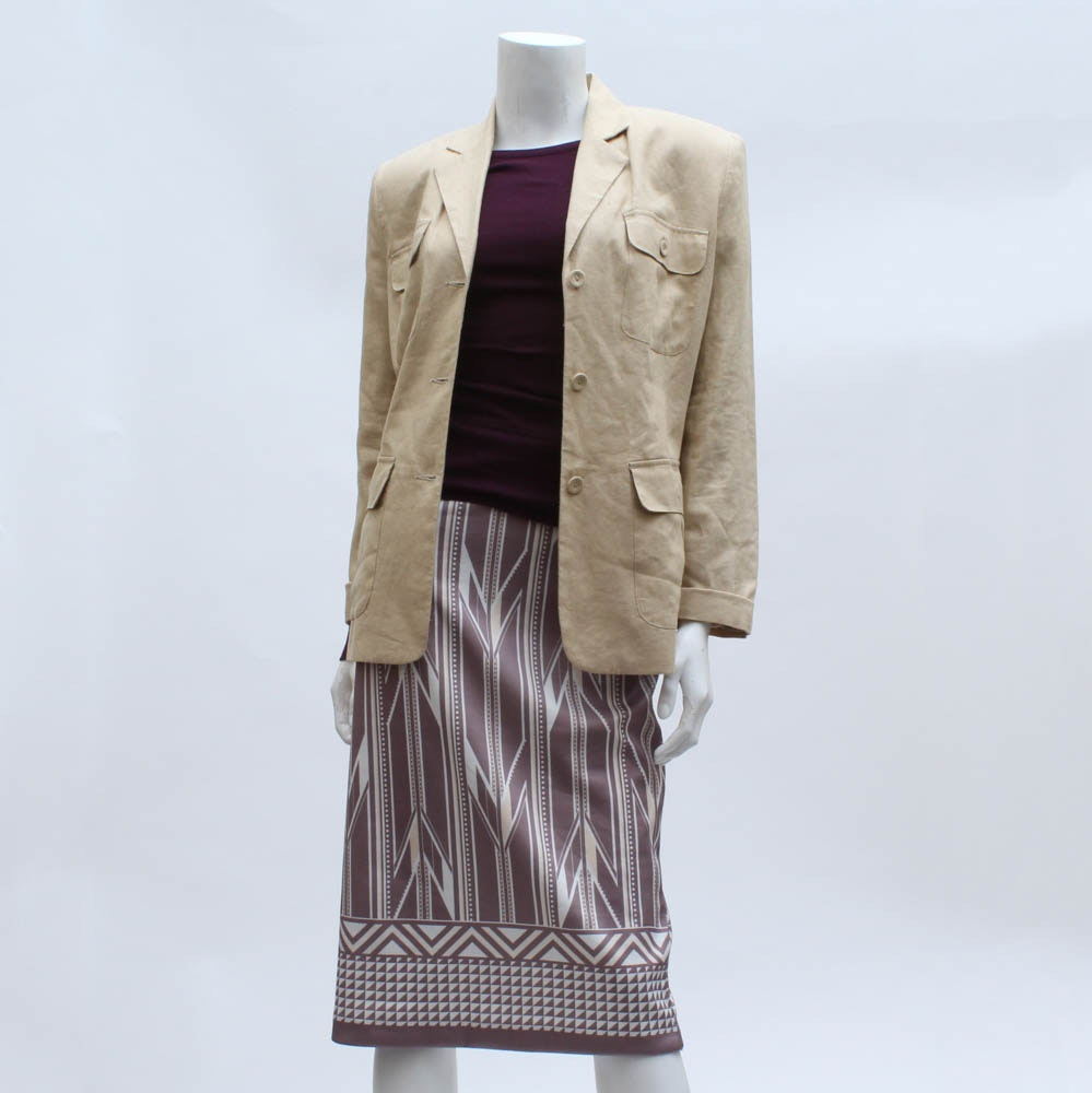Khaki Jacket with Knit Top and New York & Co. Skirt