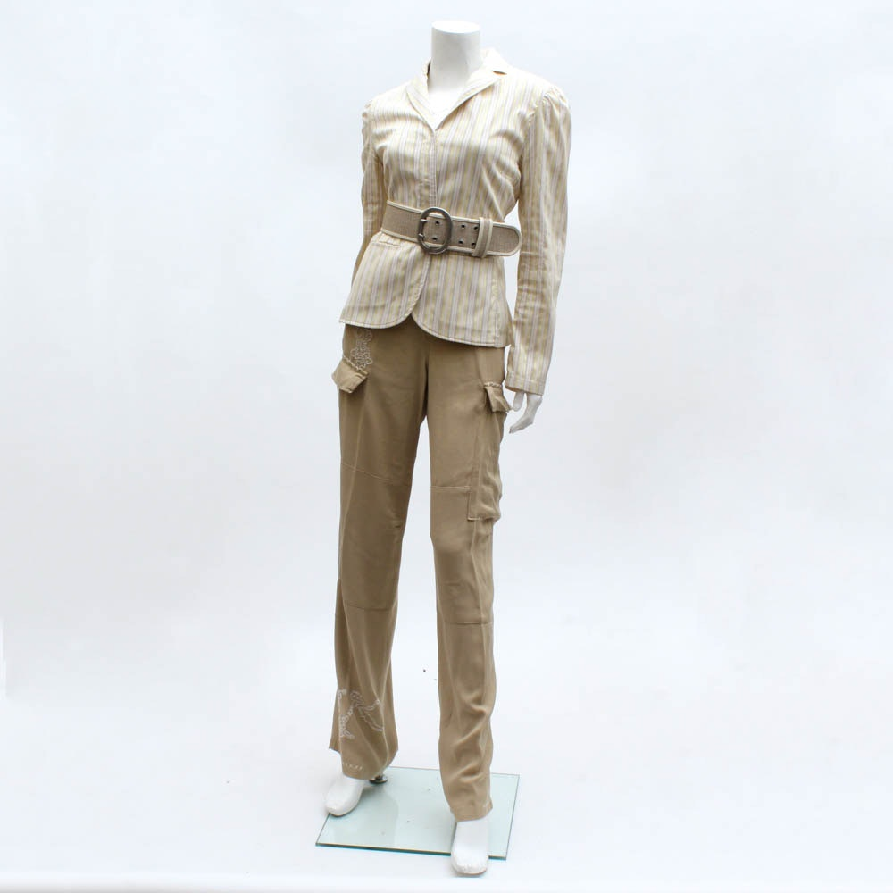 Women's Striped Jacket with Cargo Pants and Sweater
