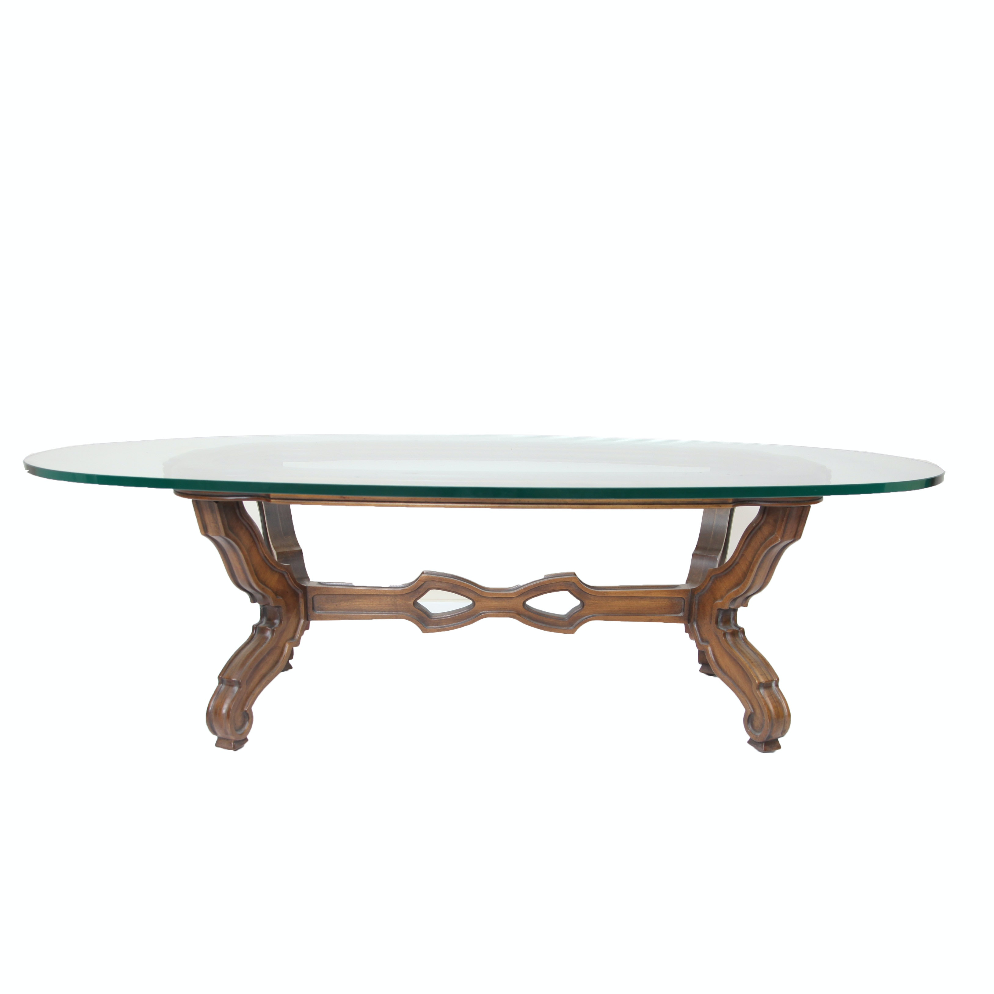Charming Mid Century Mediterranean Style Walnut And Glass Coffee Table ...