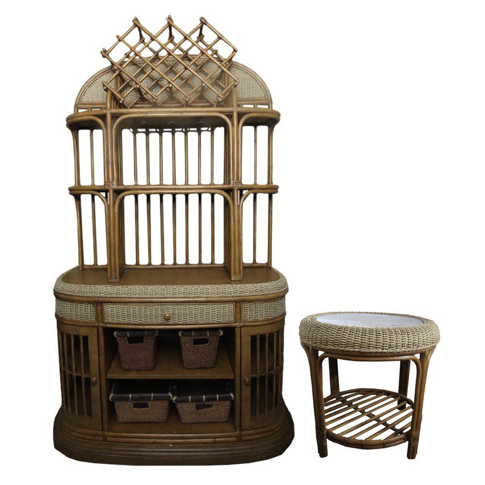 Wicker Cabinet with Side Table and Storage Baskets