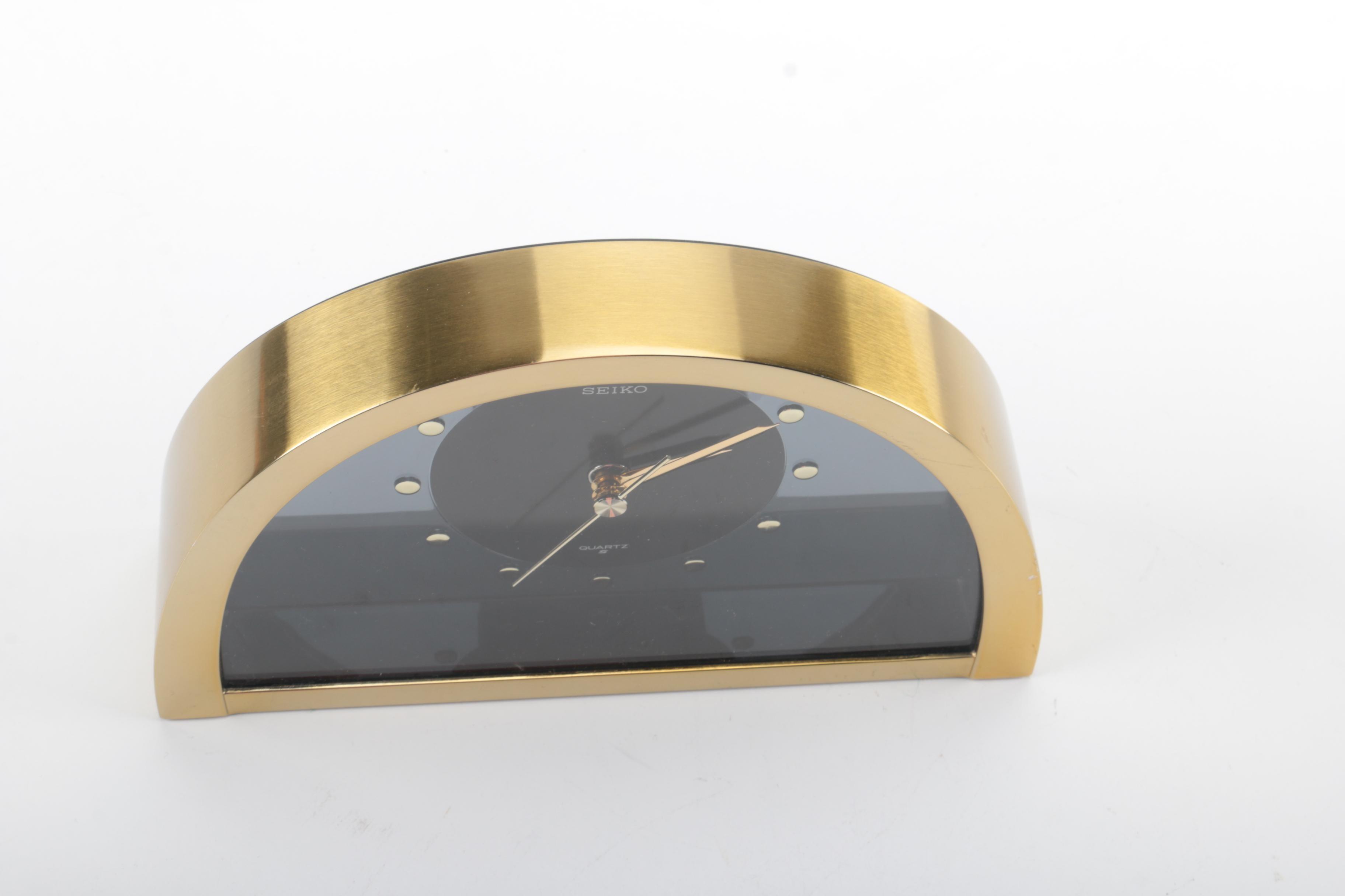 Seiko Syra Quartz Black Acrylic And Brass Half Round Clock