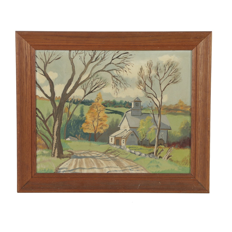 Oil painting on canvas board landscape with church ebth for What is canvas board
