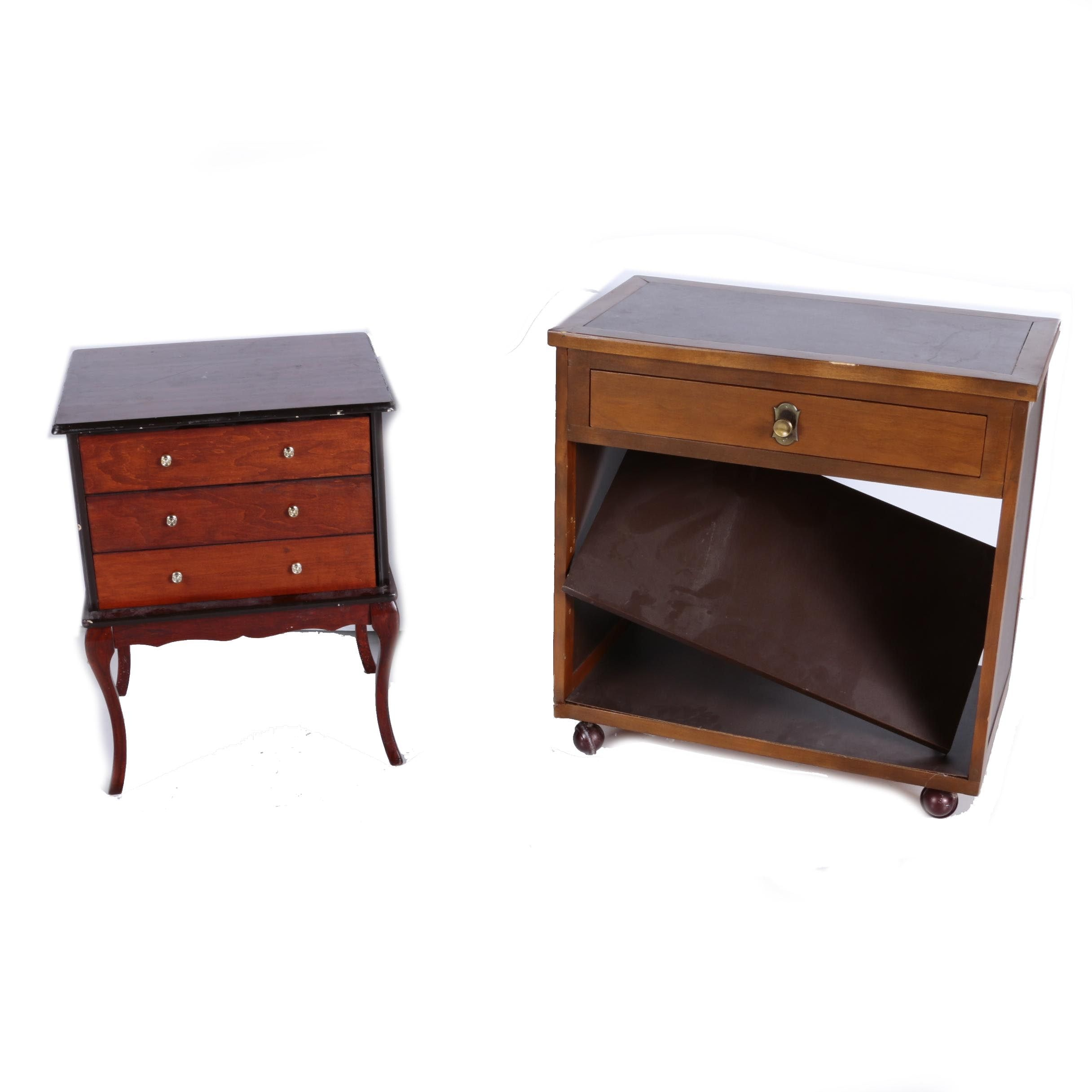 Rolling Wooden Tv Stand With Small Three Drawer End Table Ebth