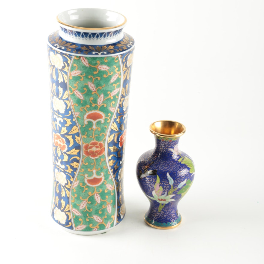 Chinese Cloisonn And Japanese Ceramic Vases Ebth