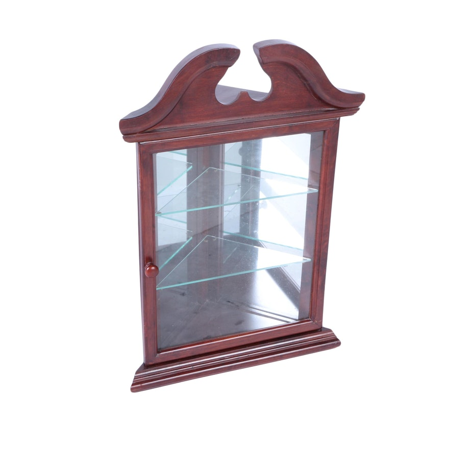 Federal Style Cherry Wall Mounted Corner Curio Cabinet