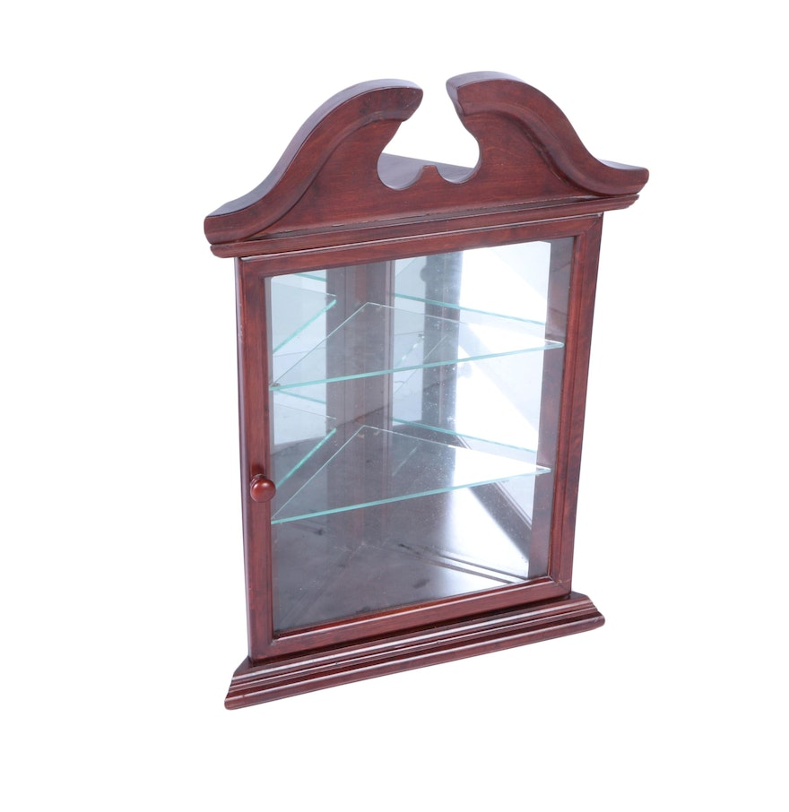 federal style cherry wall mounted corner curio cabinet ebth. Black Bedroom Furniture Sets. Home Design Ideas
