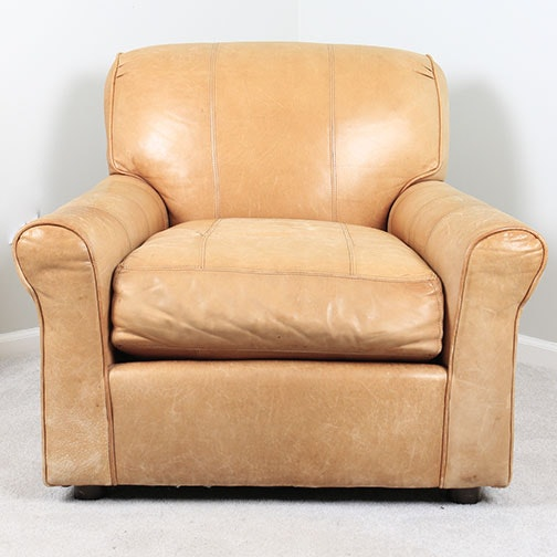 Tan Leather Club Chair by Arhaus