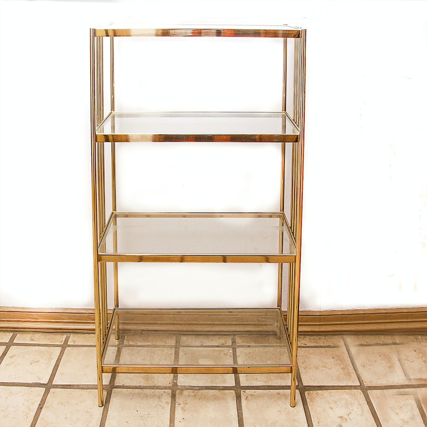 Brass and Glass Shelving Unit : EBTH