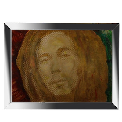 Mixed Media Painting of Bob Marley by David Arquette