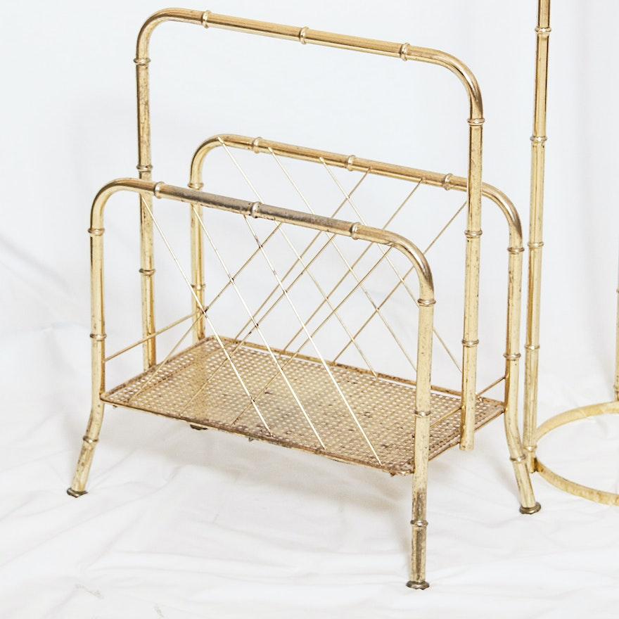 Hollywood Regency Style Magazine Rack And Side Table Ebth