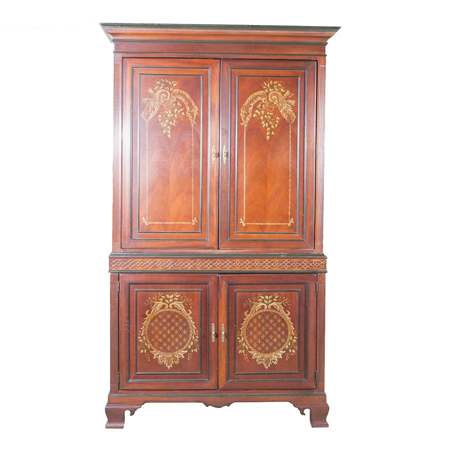Vintage Neoclassical Mahogany Entertainment Center by Palmer Home Collection