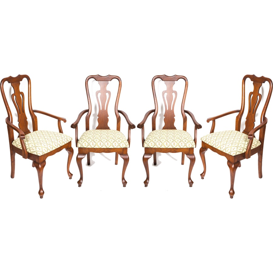 Set of Four Vintage Queen Anne Style Dining Chairs