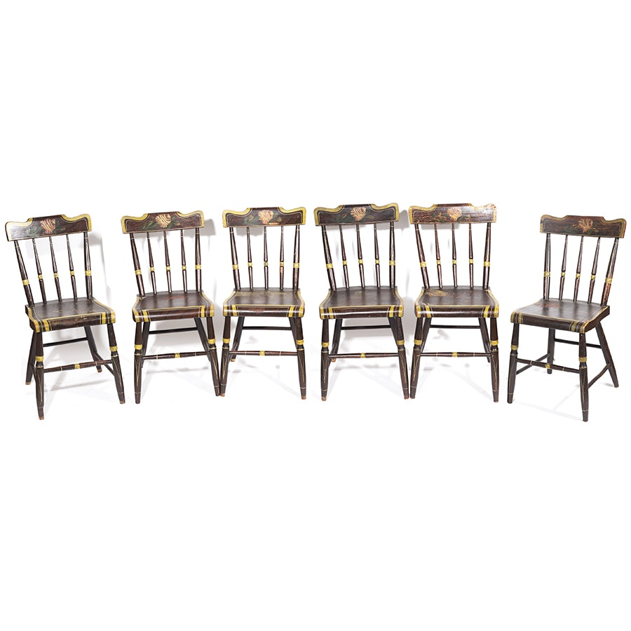 Set of Six Vintage Sheraton Style Fancy Dining Chairs